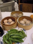 Sugar Snap Peas and har gow with crab