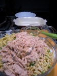 huge bowl o' tuna, noodles, three waiting casseroles