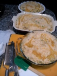 three casseroles ready to go into the oven